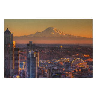 Cityscape view of Seattle downtown, football Wood Print