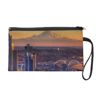 Cityscape view of Seattle downtown, football Wristlet Purse
