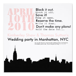 cityscape wedding party  Save the Date 13 Cm X 13 Cm Square Invitation Card