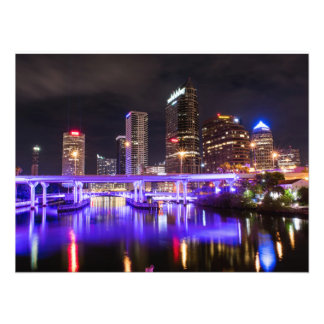 Cityscape with Purple Reflection of Lights Photo