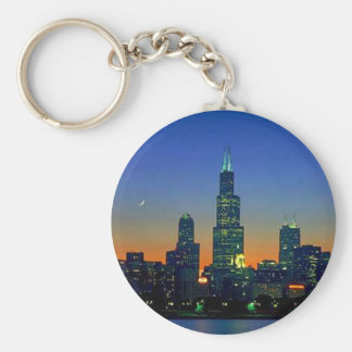 Cityscapes Basic Round Button Key Ring