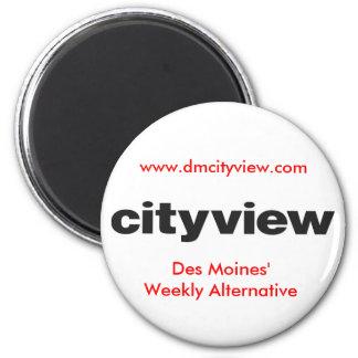 cityview LOGO black, Des Moines' Weekly Alterna... 6 Cm Round Magnet