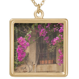 Ciudad Monumental, flower-covered buildings Gold Plated Necklace