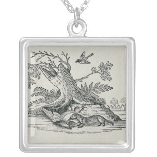 Civet with Cockerel from 'History of Quadrupeds' Silver Plated Necklace