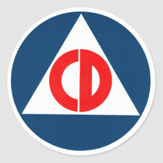 Civil Defense circle Classic Round Sticker