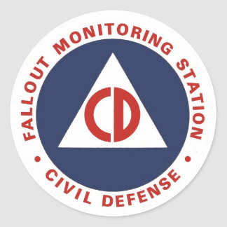 Civil Defense Fallout Monitoring Station Decal Round Sticker