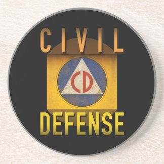 Civil Defense Symbol Retro Atomic Age Grunge : Coaster