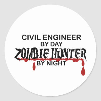 Civil Eng Zombie Hunter Round Stickers