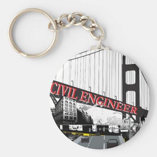 Civil Engineer Basic Round Button Key Ring