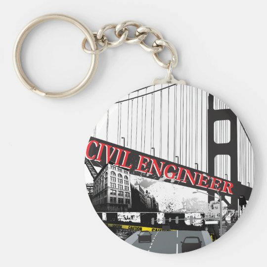 Civil Engineer Basic Round Button Key Ring