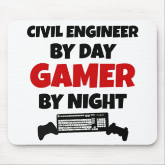 Civil Engineer By Day Gamer by Night Mouse Mat