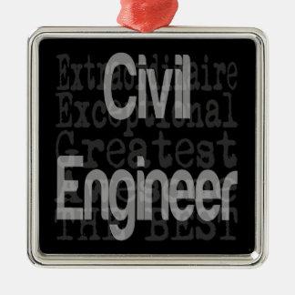 Civil Engineer Extraordinaire Silver-Colored Square Decoration