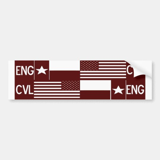 Civil Engineer Maroon Flags Sticker Bumper Sticker