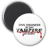 Civil Engineer Vampire by Night 6 Cm Round Magnet