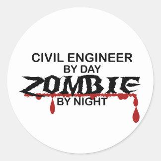 Civil Engineer Zombie Round Sticker