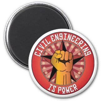 Civil Engineering Is Power 6 Cm Round Magnet