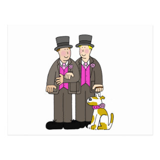 Civil union gay marriage two men and a dog. postcard
