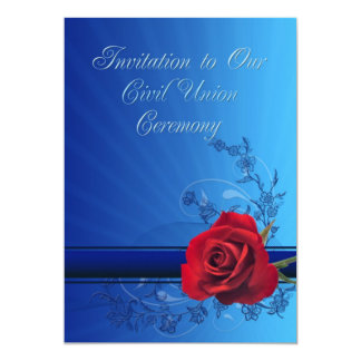 Civil Union invitation with a red rose of love