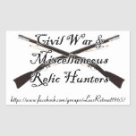 civil war and misc relic hunters decal stickers