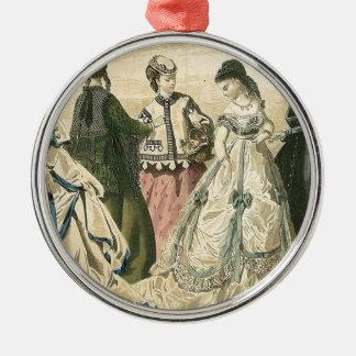 Civil War Antebellum Fashion Ladies Ball Gown Silver-Colored Round Decoration