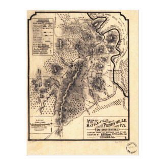 Civil War Battlefield of Perryville Kentucky Map Stretched Canvas Prints