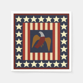 Civil War Era Digital Art Quilt Square Disposable Napkins