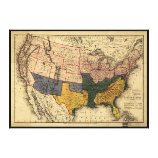 Civil War Era Map of the United States (Jan 1864) Canvas Print