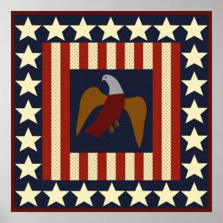 Civil War Era Stars and Eagle Quilt Square Poster