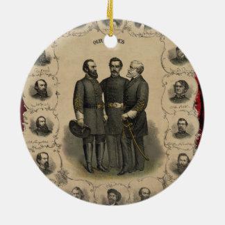 Civil War Heroes Round Ceramic Decoration