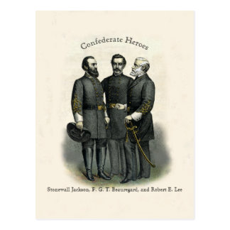 Civil War Heroes Stonewall Beauregard Lee Postcard