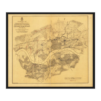 Civil War Knoxville Tennessee Map (1864) Stretched Canvas Prints