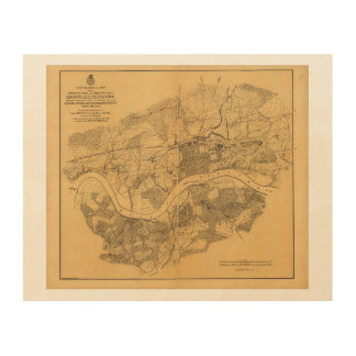 Civil War Knoxville Tennessee Map (1864) Wood Canvases