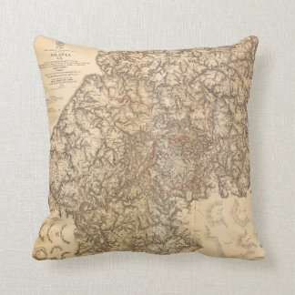 Civil War Map Atlanta Georgia July 19-Aug 26 1864 Cushion