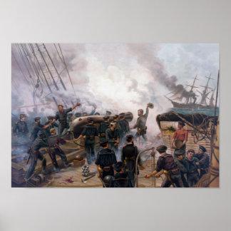 Civil War Naval Battle - Kearsarge And Alabama Poster
