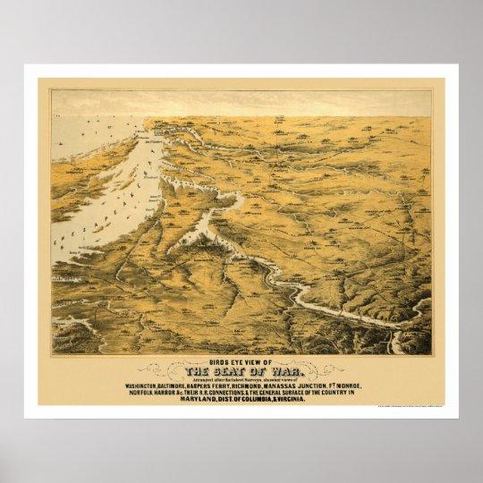 Civil War Panoramic Map 1861 Poster