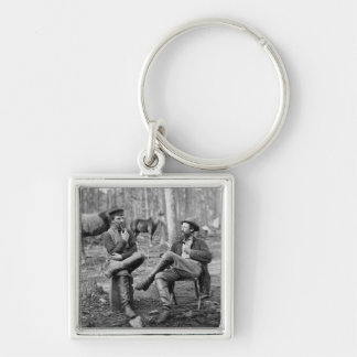 Civil War Pipes, 1864 Silver-Colored Square Key Ring