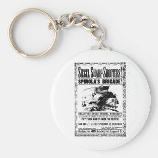 Civil War Recruitment Poster, black Basic Round Button Key Ring