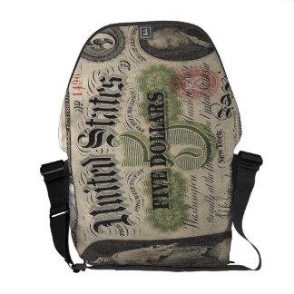 /Civil war US 1862 5 dollar Note - Antique Money Commuter Bags
