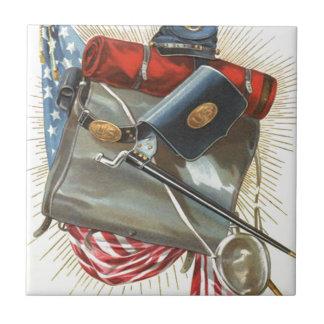 Civil War US Flag Bayonet Canteen Small Square Tile