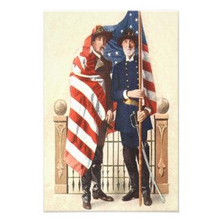 Civil War US Flag Union Confederate Soldier Photographic Print