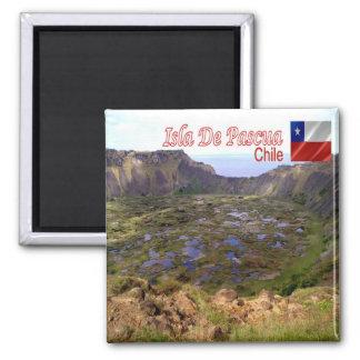 CL Chile Isla De Pascua Rano Kau Volcanic Caldera Square Magnet