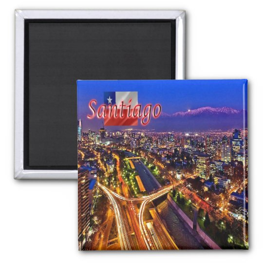 CL - Chile - Santiago - Night View Square Magnet
