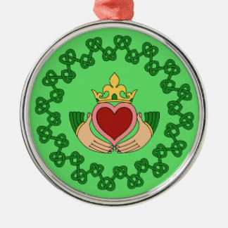 Claddagh and Green Knotwork Christmas Ornament