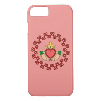 Claddagh and Red Knotwork on Pink iPhone 8/7 Case