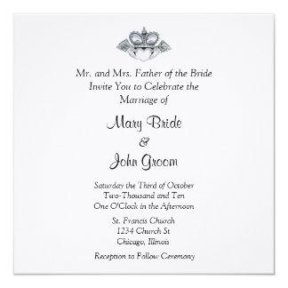 "Claddagh Wedding Invitations 5.25"" Square Invitation Card"