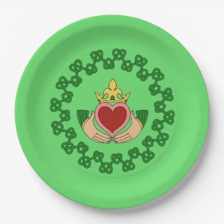 Cladddagh and Green Knotwork Paper Plate