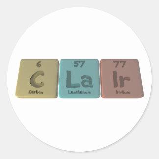 Clair as Carbon Lanthanum Iridium Round Sticker