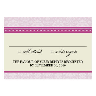 """::claire:: Charming Damask 3.5""""x2.5"""" RSVP Card_v2 Business Card Templates"""