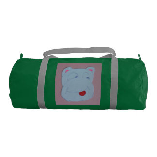 Claire Emerald with Silver Straps Duffle Gym Bag. Gym Duffel Bag