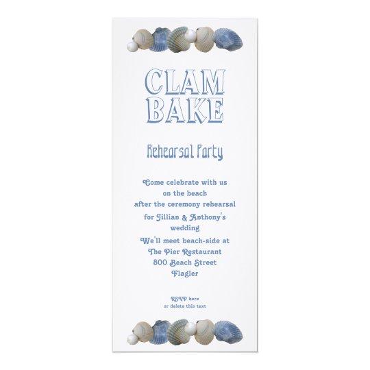 Clam Bake Tall Wedding Rehearsal Party Invitation